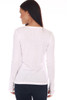 back shows white colored long sleeve featuring a scoop neckline, long sleeves with thumbholes, fitted body and the softest extra stretchy  material.