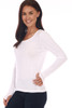 side shows white colored long sleeve featuring a scoop neckline, long sleeves with thumbholes, fitted body and the softest extra stretchy  material.
