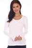 front shows white colored long sleeve featuring a scoop neckline, long sleeves with thumbholes, fitted body and the softest extra stretchy  material.