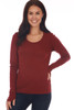 front shows red wine colored long sleeve featuring a scoop neckline, long sleeves with thumbholes, fitted body and the softest extra stretchy  material.