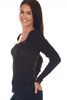 side shows a classy black long sleeve shirt with lace detailing at top back line and deep v. It sits on the shoulder or off, super stretchy rib-knit material.