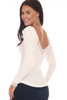 back shows a classy ivory long sleeve shirt with lace detailing at top back line and deep v. It sits on the shoulder or off, super stretchy rib-knit material.