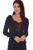 front shows a classy black long sleeve shirt with button up front, lace detailing at neckline and deep v at front. It sits on the shoulder or off, super stretchy rib-knit material.