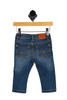 Back shows blue super stretchy denim trouser jeans with snap closure at front with slim fit bottom, upper right waste tag, and 2 back pockets.