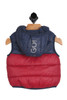 Back shows dark blue and red puffer vest featuring reversible inside & super soft and thick puffer material!