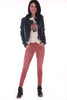 Front shows red corduroy pants featuring the softest corduroy material, zipper/button closure at front, two pockets, and super skinny bottom hemline. Show worn with black faux leather jacket, Michael Jackson Tee and black boots.