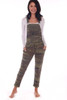 Front shows camouflage overalls featuring the softest jersey material with adjustable overall straps, waist tie and tapered cuffed ankles for the cutest look. Shown worn with a long white sleeve shirt.