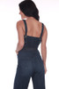 back shows blue denim jumpsuit featuring culotte length pants with thin adjustable tying straps, sash at waist and hidden side zipper.