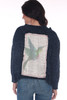 back shows deep blue chenille sweater featuring a slightly cropped hemline with longer sides, a wider fit, long sleeves & the softest chenille material and large hummingbird patch.
