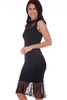 Ali & Jay midi dress features a beautiful high neck lace detailing with fitted body & ruffle lace hemline. Zipper at back and fully lined. Fitted. Shoulder To Hem Measurement: Approximately 41.5 in.   65% Rayon, 30% Nylon, 5% Spandex, Contrast - 100% Nylon, Lining - 100% Polyester Dry Clean Recommended.