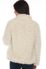Back view shows roomy fit of the white faux fur jacket