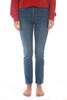 Front view shows blue denim Levi's 501 fitted skinny jeans