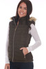 Side view shows black vest with fur edge hood and side zip pocket.