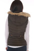 Back view shows black vest with fur edged hood