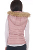 Back view shows pink vest with fur edged hood