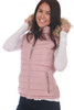 Side view shows pink vest with fur edge hood and side zip pocket.