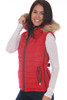 Side view shows red vest with fur edge hood and side zip pocket.