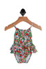 Floral Ruffle Printed Swimsuit for Infants has pink, red and white flowers with green leaves and ruffles around the lower half.  85% Polyester, 15% Elastane.  Machine Wash Cold Inside Out, Tumble Dry Low.