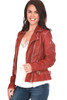 Side view of this beautifully made, red 100% lamb leather jacket by Mauritius features the classic moto jacket look with silver hardware, zipper closure, buckle detailing on each side and the softest leather material. Completely lined with zipper pocket on inside.  True To Size.  Shoulder To Hem Measurement is Approximately 21.5 inches.  Shell - 100% Lamb Leather, Body Lining - 100% Cotton, Sleeve Lining - 100% Polyester.  Dry Clean Only.