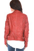 Back view of this beautifully made,  red 100% lamb leather jacket by Mauritius features the classic moto jacket look with silver hardware, zipper closure, buckle detailing on each side and the softest leather material. Completely lined with zipper pocket on inside.  True To Size.  Shoulder To Hem Measurement is Approximately 21.5 inches.  Shell - 100% Lamb Leather, Body Lining - 100% Cotton, Sleeve Lining - 100% Polyester.  Dry Clean Only.