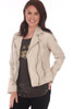 Off White Victoria 100% Leather Jacket.  Beautifully made, this 100% lamb leather jacket by Mauritius features the classic moto jacket look with silver hardware, zipper closure, buckle detailing on each side and the softest leather material. Completely lined with zipper pocket on inside.  Fits true to size.   Shell - 100% Lamb Leather, Body Lining - 100% Cotton, Sleeve Lining - 100% Polyester.  Dry Clean Only.