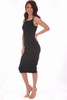 This perfect Michael Stars sleeveless midi dress in black is a staple piece in any closet. Dress it up with a pair of heels, or pair it with your favorite sneakers - this dress is super versatile! It features a soft & stretchy materiel with flattering rouching at sides, a halter-like top and midi length.  True To Size.  Shoulder To Hem Measurement is Approximately 40.0 inches.  94% Cotton 8% Lycra. Machine Wash Cold, Tumble Dry Low