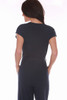 Rear view shows back belt loops and belt.  Feona Pebble knit short sleeved Jumpsuit in navy has a v-neck with front zipper and fabric tie belt. Shoulder To Hem Measurement is approximately 51.0 inches.  50% Cotton, 50% Modal.  Machine Wash Cold, Hang to Dry.