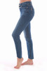 These Paige jeans feature a double button at top with skinny tapered leg, distressed hemline and super soft denim material.  True To Size.  Rise is Approximately 9 inches.  Inseam is Approximately 27 inches.  Fabric Content: 92% Cotton, 7% Polyester, 1% Spandex.  Turn Inside Out to wash.  Machine Wash Cold, Hang Dry.