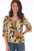 Front view of this Veronica M blouse shows the tie front and elastic neck band in a beautiful mustard, cream & navy floral print.  Also shows the elastic band at bottom hem.  True To Size.  Shoulder To Hem Measurement is Approximately 22 inches.   100% Polyester.  Machine Wash Cold, Tumble Dry Low.