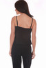 Rear view of this black sleeveless jumpsuit features shows tank bank with spaghetti straps, elastic waist, side slit pockets and jogger ankles. True To Size. Shoulder To Hem Measurement: Approximately 52 inches. 94% Polyester, 6% Spandex.  Machine Wash Cold, Tumble Dry Low