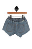 Two patch pockets are seen on the back of the Wild Sun Denim Shorts for Little and Big Kids which has elastic waistband with a white string tie and side slit pockets. 100% Cotton.  Machine Wash Cold, Tumble Dry Low.
