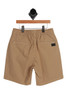 Larry Layback Twill Short for Big Kids in Khaki has elastic waist and rear pockets. 98% Cotton, 2% Elastane.  Machine Wash Cold, Tumble Dry Low