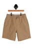 Larry Layback Twill Short for Big Kids in Khaki has elastic waist and side slit pockets. 98% Cotton, 2% Elastane.  Machine Wash Cold, Tumble Dry Low
