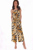 Blue, gold and beige sleeveless Floral Culotte Cami Jumpsuit has spaghetti straps and a tie at waist with side slit pockets. True To Size. Shoulder To Hem Measurement is Approximately 50 inches. 100% Polyester.  Machine Wash Cold, Tumble Dry Low.