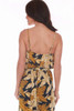 The rear view shows the tank back of this Blue, gold and beige sleeveless Floral Culotte Cami Jumpsuit has spaghetti straps and a tie at waist with side slit pockets. True To Size. Shoulder To Hem Measurement is Approximately 50 inches. 100% Polyester.  Machine Wash Cold, Tumble Dry Low.
