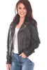 Black Leather Jacket With white Stars At Back.  Beautifully made, this 100% lamb leather jacket by Mauritius features the classic moto jacket look with silver hardware, zipper closure, buckle detailing on each side and the softest leather material. Completely lined with zipper pocket on inside. At the back it features beautifully stitched cream stars with red detailing underneath collar.  Fits true to size.  Shell is 100% Lamb Leather, Body Lining is 100% Cotton, Sleeve Lining is 100% Polyester.  Dry Clean Only.