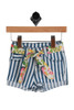 Striped Shorts W/ Belt for Infants.  Snap button closure at top with detachable floral print belt.  Shorts are blue and white vertical striped with a flowered tie belt.  Jean style pockets. 98% Cotton, 2% Elastane.  Machine Wash Cold, Tumble Dry Low.