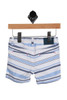 Striped Bermuda Shorts for Infants with dark blue, light blue and white stripes. These feature elastic waistband with drawstring, snap closure at front and size adjusters on inside.  Rear view shows two slits pockets.  100% Cotton.  Machine Wash Cold, Tumble Dry Low.
