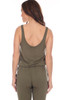 Sleeveless jumpsuit with drawstring waist and straight leg is offered in leaf green.  Top is tank style with scoop neck in front and back.  Fits True To Size.  Shoulder To Hem Measurement is approximately 58.5 in. Fabric Content is 95% Rayon, 5% Spandex.  Machine Wash Cold, Lay Flat To Dry.