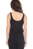 Sleeveless jumpsuit with drawstring waist and straight leg is offered in black .  Top is tank style with scoop neck in front and back.  Fits True To Size.  Shoulder To Hem Measurement is approximately 58.5 in. Fabric Content is 95% Rayon, 5% Spandex.  Machine Wash Cold, Lay Flat To Dry.