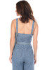 Rear view shows bare back where wide spaghetti straps are. Denim jumpsuit with tie waist fits True To Size.  This jumpsuit has wide spaghetti straps and has a Side Zipper Closure with wide cropped pant. Shoulder To Hem Measurement is  Approximately 52.5 inches.  100% Cotton.  Machine Wash Cold, Hang Dry