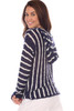 Rear view of this Light weight hooded sweatshirt which features navy and white stripes shows the hood, and fits True To Size.  Shoulder To Hem Measurement is Approximately 26.5 inches.  100% Acrylic. Machine Wash Cold, Hang Dry