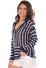 Light weight hooded sweatshirt features navy and white stripes and fits True To Size.  Shoulder To Hem Measurement is Approximately 26.5 inches.  100% Acrylic. Machine Wash Cold, Hang Dry