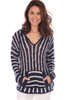 Front view of this Light weight hooded sweatshirt which features navy and white stripes has a front pocket, and fits True To Size.  Shoulder To Hem Measurement is Approximately 26.5 inches.  100% Acrylic. Machine Wash Cold, Hang Dry
