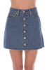 Front view shows jean pockets of Levi Button front denim mini skirt is high rise and fits True To Size.  Length is Approximately 14.5 inches.  100% Cotton.  Machine Wash Cold, Tumble Dry Low.