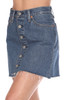 Levi Button front denim mini skirt is high rise and fits True To Size. Length is Approximately 14.5 inches.  100% Cotton.  Machine Wash Cold, Tumble Dry Low.