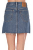 Rear view shows back pockets of Levi Button front denim mini skirt is high rise and fits True To Size.  Length is Approximately 14.5 inches.  100% Cotton.  Machine Wash Cold, Tumble Dry Low.
