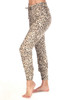 Leopard zipper jogger pants fits True To Size with a Mid Rise.  Elastic waist with a tie and elastic around ankles.  Rise is Approximately 8.5 in.  Inseam is Approximately 26 in.   97% Viscose, 3% Spandex.  Machine Wash Cold, Hang Dry.