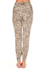 Rear view shows two zipper pockets on these Leopard zipper jogger pants which fit True To Size with a Mid Rise.  Elastic waist with a tie and elastic around ankles.  Rise is Approximately 8.5 in.  Inseam is Approximately 26 in.   97% Viscose, 3% Spandex.  Machine Wash Cold, Hang Dry.
