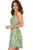 Vibes mini dress fits True To Size and is lined.  Adjustable spaghetti straps and buttons to the waist with a flair skirt bottom.  Green and white leaf pattern.  Also has a Hidden Side Zipper. Shoulder To Hem Measurement is  Approximately 33 in. Fabric Content is Self: 100% Polyester, Lining: 100% Polyester.  Hand Wash Cold, Line Dry.